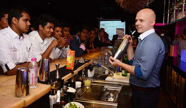 Zapert demonstrated bar-tending at World Class India workshop