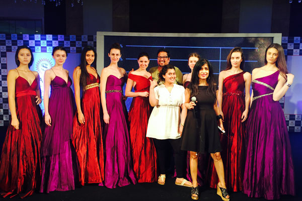 "Fashion designer ""Manali Jagtap"" showcasing her exquisite collection"
