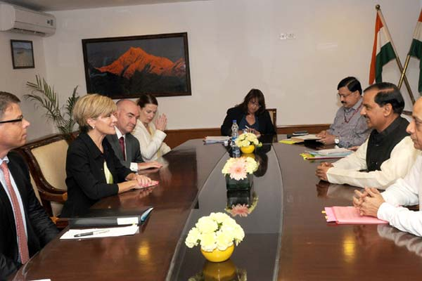 Australian Delegation headed by Foreign Affairs Minister, Ms. Julie Bishop meets with Dr. Mahesh Sharma