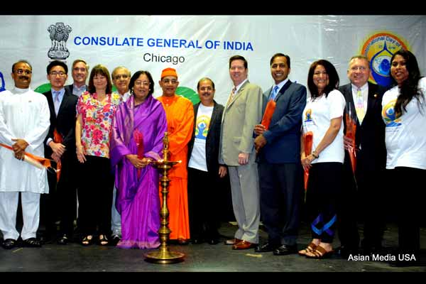 Celebrations of the First International Day of Yoga in Chicagoland & the US Mid-west