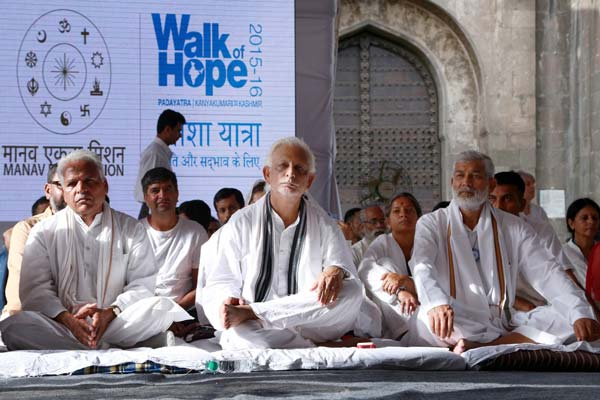 'Walk of Hope' Yogi's day long fast for social harmony & anti-terrorism