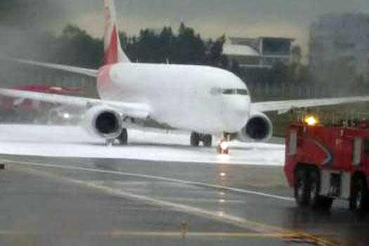 Chinese airport firefighters spray wrong plane with foam