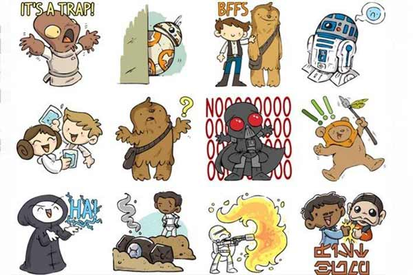 Free 'Star Wars' sticker emojis at FB! Celebrating upcoming movie