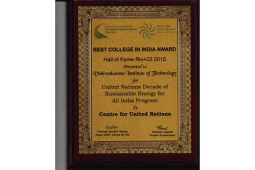 Vishwakarma Institute of Technology  conferred with 'Best College in India' Award by United Nations centre, IARC