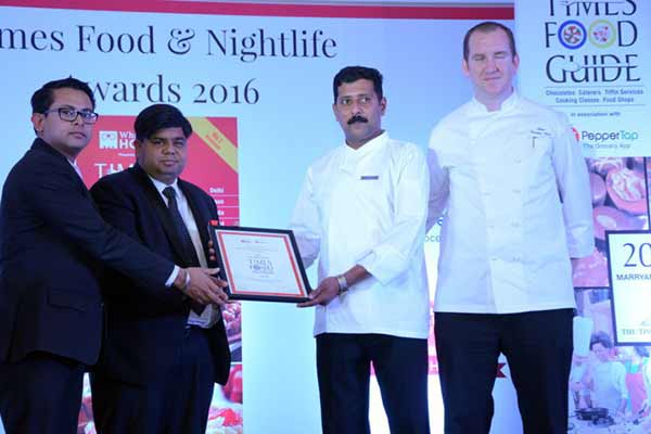 "Kitchen District, Hyatt Regency Gurgaon awarded for Best South Indian, Fine Dine Restaurant at ""The Times Food & Nightlife Awards"""