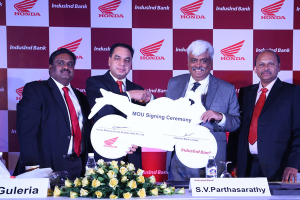 Honda inks national 2Wheeler retail finance MoU with IndusInd Bank Ltd.