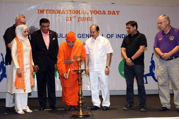 Celebrations of the Second International Day of Yoga at Sandwich City, Illinois & the US Mid-west