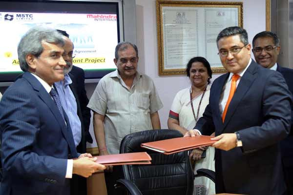 India's first Integrated Auto Shredding Facility; Mahindra Intertrade Ltd. and MSTC Ltd. enter into a joint venture agreement