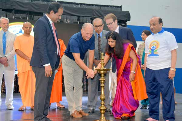 """""""Spreading the Message of health, happiness and peace across the Globe through Yoga""""- Ms. Neeta Bhushan, Consul General of India in Chicago"""