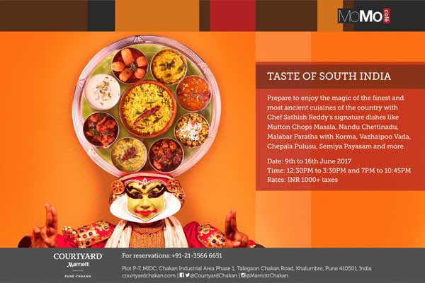 Enjoy world famous South Indian Cuisine @MoMo Café, Courtyard by Marriott Pune Chakan