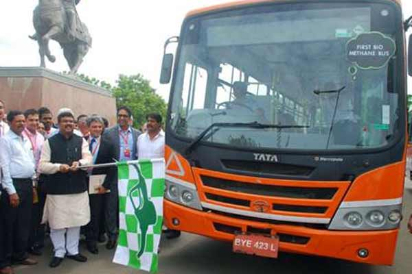 Tata Motors showcases country's first Bio-Methane Bus in Pune during Bio-Energy Utsav