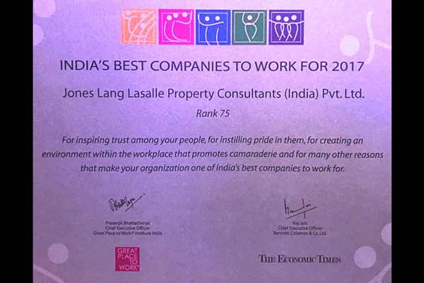 JLL Enters the League of 'Best Workplaces in India 2017'