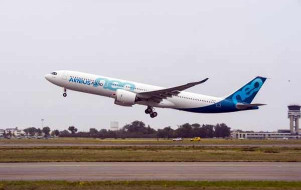 A330neo takes flight over southern France