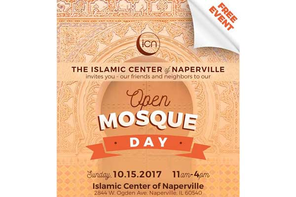 Islamic Center of Naperville (ICN) to host Open Mosque Day for all Faiths on Sunday, October 15th, 2017 at ICN, Naperville
