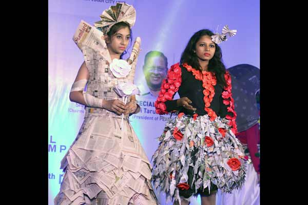 Dress made by paper, plastic and other recycle products was highlight on 2nd day of Borivali Design Fest