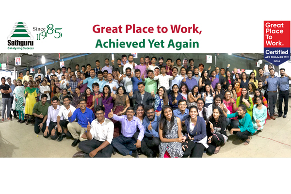 "Sathguru Management Consultants wins the prestigious ""GREAT PLACE TO WORK"" Certification"", Yet Again"