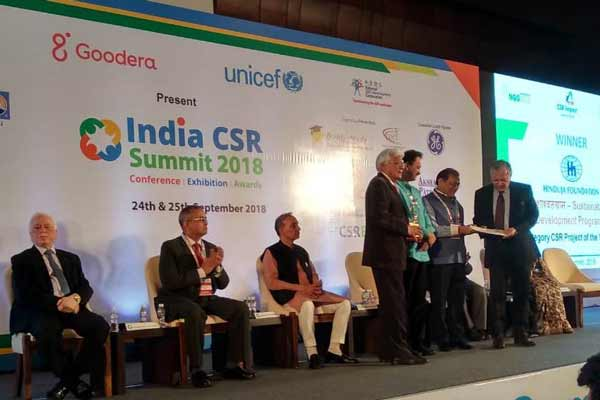 Hinduja Foundation's 'Sustainable Rural Development Project' wins Project of the Year at India CSR Summit 2018'