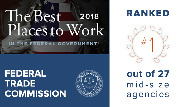 """FTC Tops the List of """"Best Places to Work"""" Among Mid-Size Federal Agencies"""