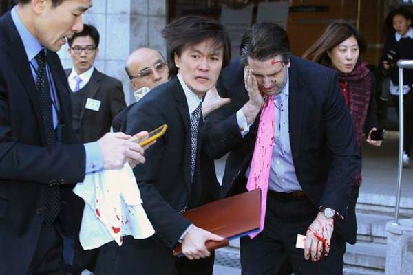 US Ambassador to S Korea slashed with knife on face and wrist in an attack
