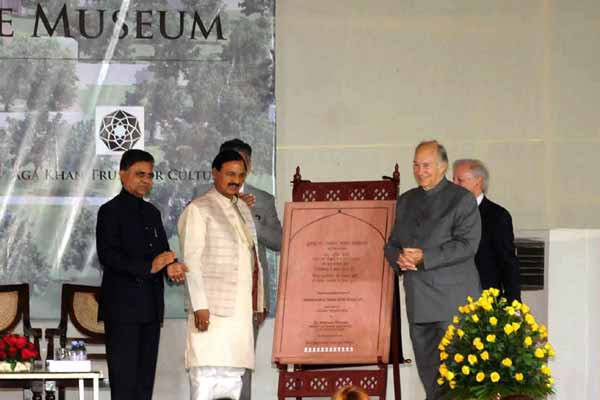 Dr Mahesh Sharma and his Highness the Aga Khan Lay Foundation Stone of the Site Museum at Humayun's Tomb