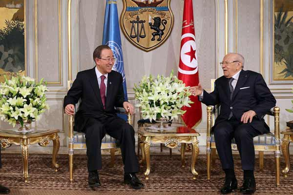 In Tunisia, Ban welcomes country's democratic progress