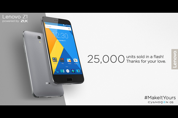 Lenovo sold 25,000 units of ZUK Z1 in the first flash sale on Amazon