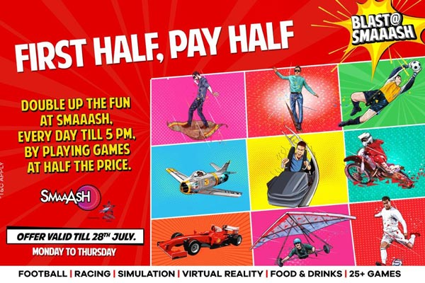 First half, just pay half at SMAAASH Cyberhub Gurgaon