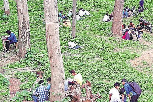 Bihar students sit under trees, write exams from books; parents answering questions