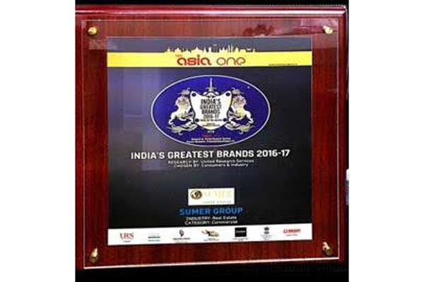 Sumer Group awarded India's Greatest Brand 2017 - Pride of the Nation