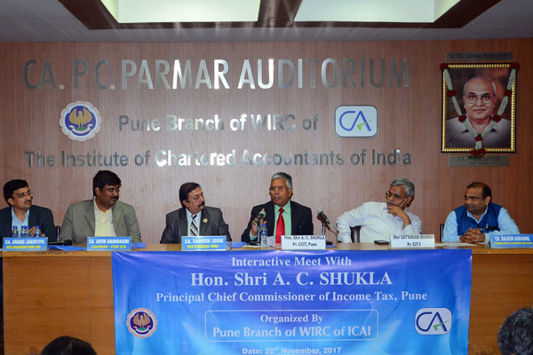 Chief Commissioner of Income Tax Hon. A C Shukla had an interactive session with the CA fraternity of Pune