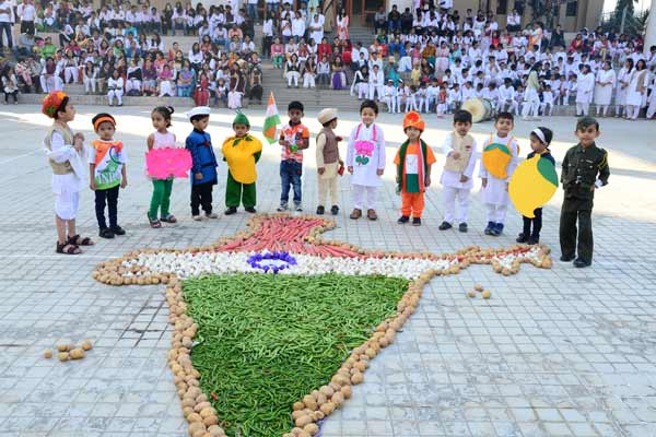 Suryadatta National School students celebrate Republic Day – create India map with vegetables in the Indian flag's tricolor