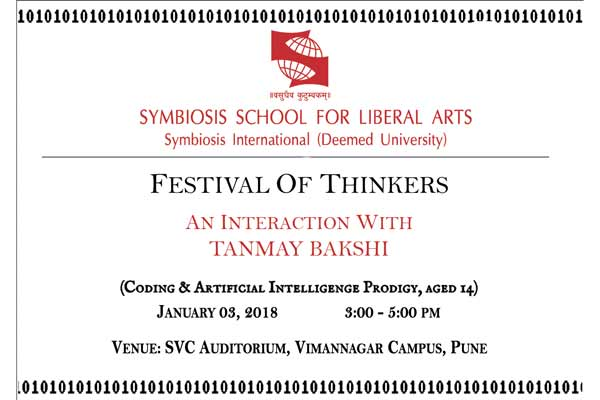 "A note on ""Tanmay Bakshi Event"" scheduled on 3rd January 2018."