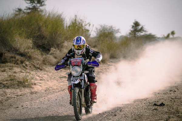 TVS Racing's Rajendra RE leads in the Group B (upto 250cc) category at the DESERT STORM 2018