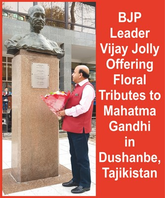 BJP Leader Vijay Jolly offers floral Tributes to Gandhi & Tagore in Tajikistan