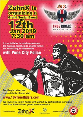 ZehnX and Premier Group in association with Pune Police organizes a Helmet Ride