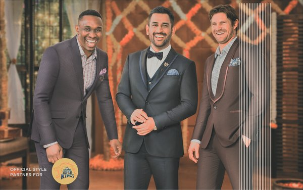 Chennai Super Kings' MS Dhoni along with Shane Watson, Dwayne Bravo and Murali Vijay sport striking looks from Peter England's Wedding Suits and Blazers Collection