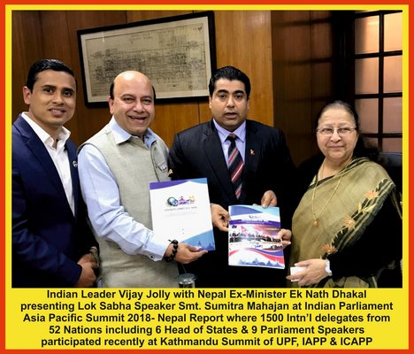 Asia Pacific Summit 2018 -Nepal Report Submitted to Indian Lok Sabha Speaker