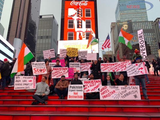 Indian Americans protest at Pakistan Consulate on Feb 22nd to stop Global Terrorism sponsored by Pakistan in wake of Pulwama, Kashmir terror attack