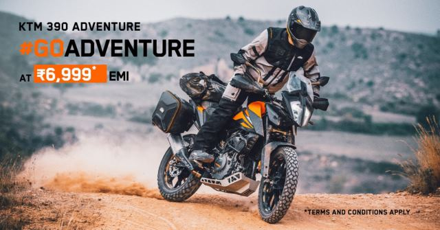 KTM announces an attractive ownership plan for the KTM 390 Adventure at Rs.6999 per month